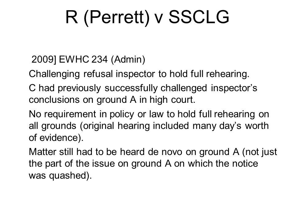 R (Perrett) v SSCLG [2009] EWHC 234 (Admin)